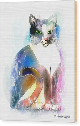 Wood Print featuring the mixed media Cat Of Many Colors by Arline Wagner