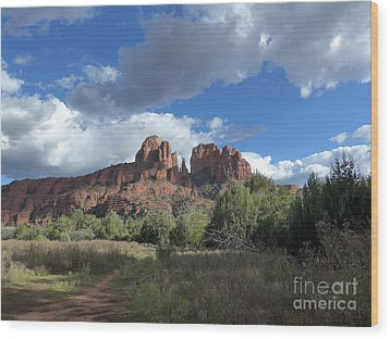 Cathedral Rock Sedona Wood Print by Marlene Rose Besso