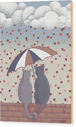 Wood Print featuring the mixed media Cats In Love by Anne Gifford