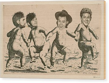 Celebrity Etchings - One Direction   Wood Print by Serge Averbukh