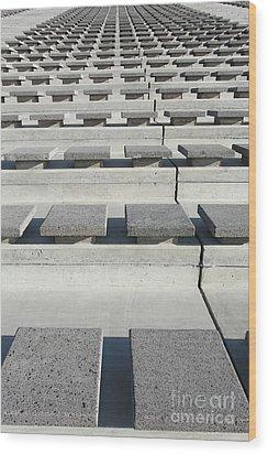 Cement Seats Wood Print by Gaspar Avila