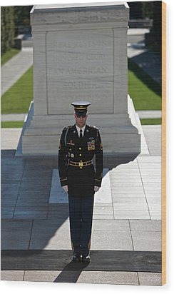 Changing Of Guard At Arlington National Wood Print by Terry Moore