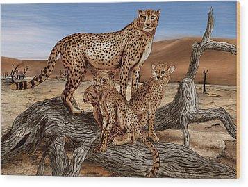 Cheetah Family Tree Wood Print by Peter Piatt