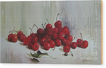 Wood Print featuring the painting Cherries by Elena Oleniuc