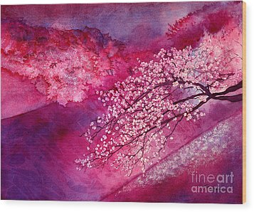 Wood Print featuring the painting Cherry Blossoms by Hailey E Herrera