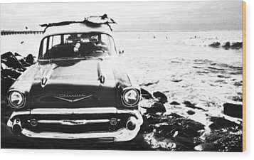 Chevy On The Rocks Wood Print by Ron Regalado