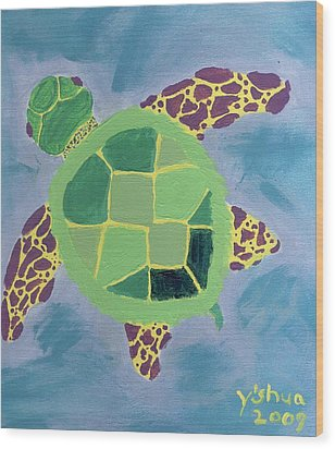 Wood Print featuring the painting Chiaras Turtle by Yshua The Painter