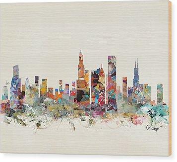 Chicago City Skyline Wood Print