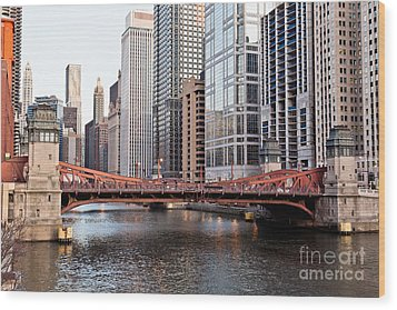 Chicago Downtown At Lasalle Street Bridge Wood Print by Paul Velgos