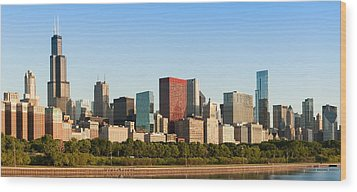 Chicago Downtown At Sunrise Wood Print by Semmick Photo