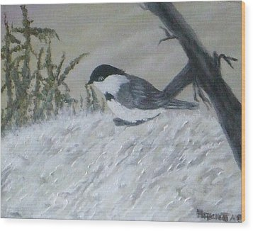 Chickadee Wood Print by Rebecca  Fitchett