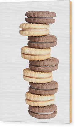 Chocolate And Vanilla Creamed Filled Cookies  Wood Print by James BO  Insogna