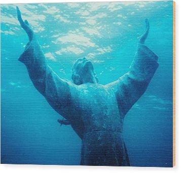 Christ At Sea Wood Print by Joann Shular