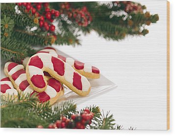 Christmas Cookies Decorated With Real Tree Branches Wood Print by Ulrich Schade