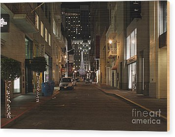Christmas Eve 2009 On Maiden Lane In San Francisco Wood Print by Wingsdomain Art and Photography