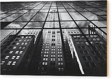 Wood Print featuring the photograph Chrysler Reflections by Jessica Jenney