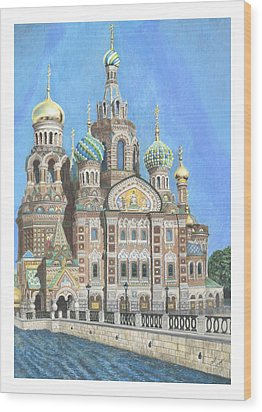 Church Of Our Savior On Spilled Blood St. Petersburg Russia Wood Print by Janet Grappin