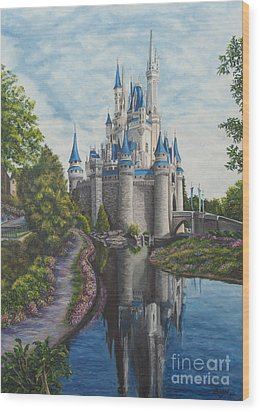 Cinderella Castle  Wood Print by Charlotte Blanchard