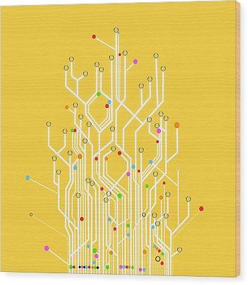 Circuit Board Graphic Wood Print by Setsiri Silapasuwanchai