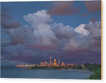 Wood Print featuring the photograph Cleveland Skyline  by Emmanuel Panagiotakis