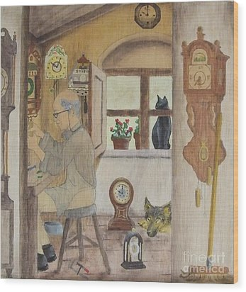Clockmaker 2 Wood Print by Annemeet Hasidi- van der Leij
