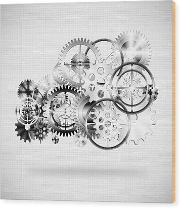 Cloud Made By Gears Wheels  Wood Print by Setsiri Silapasuwanchai