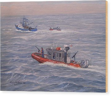 Coast Guard In Pursuit Wood Print by William H RaVell III