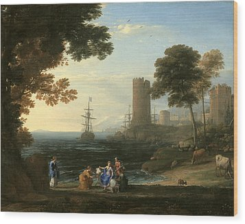 Coast View With The Abduction Of Europa Wood Print