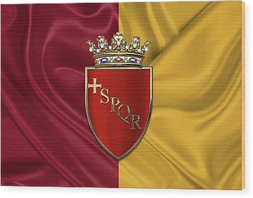 Coat Of Arms Of Rome Over Flag Of Rome Wood Print by Serge Averbukh