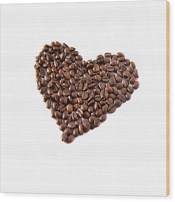 Coffee Heart Wood Print by Linde Townsend