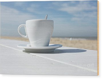Wood Print featuring the photograph Coffee On The Beach by Patricia Hofmeester