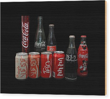 Coke From Around The World Wood Print by Rob Hans