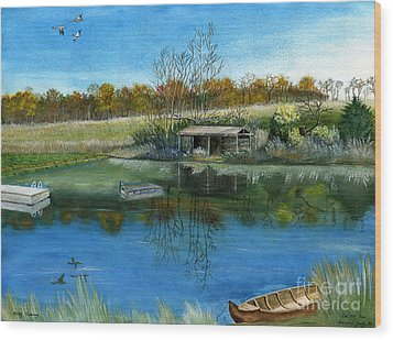 Wood Print featuring the painting Cole Hill Pond by Melly Terpening