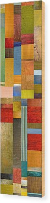 Color Panels With Green Grass Wood Print by Michelle Calkins