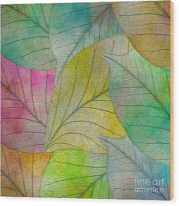 Wood Print featuring the digital art Colorful Leaves by Klara Acel