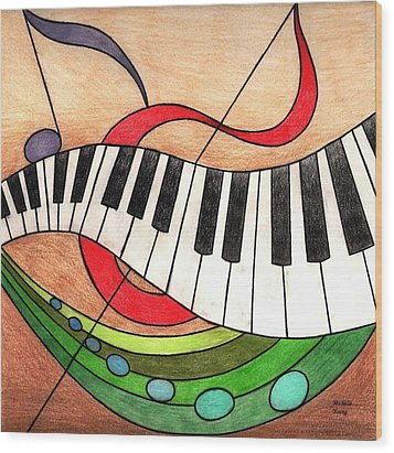 Colorful Music Wood Print by Michelle Young