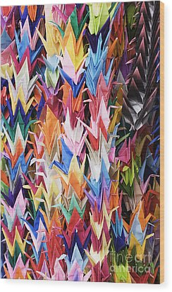 Colorful Origami Cranes Wood Print by Jeremy Woodhouse