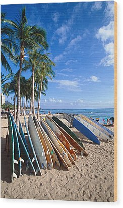 Colorful Surfboards On Waikiki Beach Wood Print by George Oze