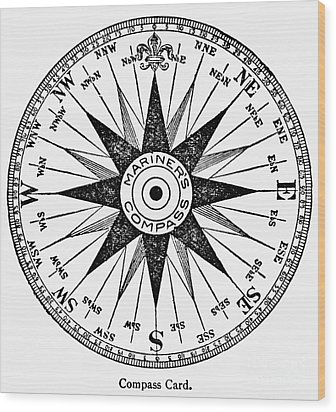 Compass Rose Wood Print by Granger