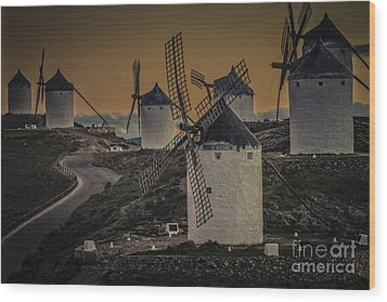 Wood Print featuring the photograph Consuegra Windmills 2 by Heiko Koehrer-Wagner