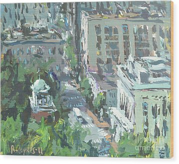 Contemporary Richmond Virginia Cityscape Painting Wood Print by Robert Joyner