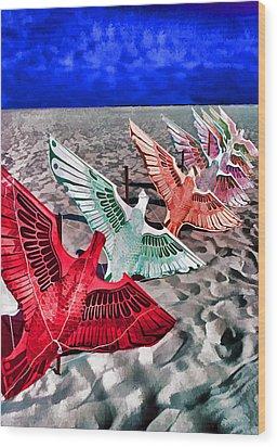 Copacabana Kites Wood Print by Dennis Cox WorldViews