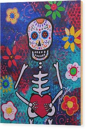 Corazon Day Of The Dead Wood Print by Pristine Cartera Turkus