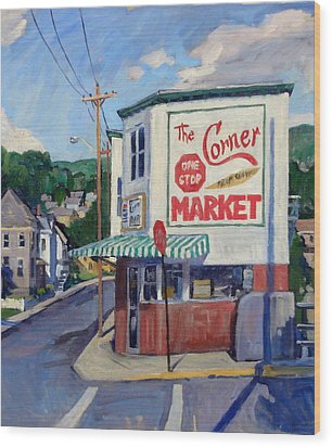 Corner Market Wood Print by Thor Wickstrom