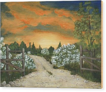 Wood Print featuring the painting Country Road by Anastasiya Malakhova