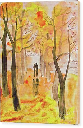 Couple On Autumn Alley, Painting Wood Print by Irina Afonskaya