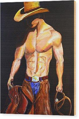 Cowboy  Wood Print by Jennifer Godshalk