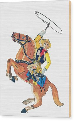 Cowboy With Lasso Wood Print