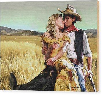 Cowboy's Romance Wood Print by Mike Massengale