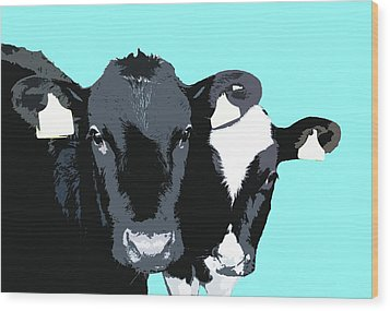 Cows - Blue Wood Print